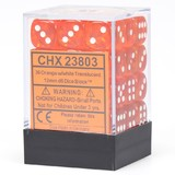 Chessex Signature 12mm D6 Dice Block: Orange & White Translucent