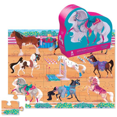 Crocodile Creek: 36-Piece Shaped Box Puzzle - Horse Dreams