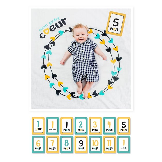 Lulujo's Baby First Year Milestone Blanket & Cards Set - Mon Petit Coeur