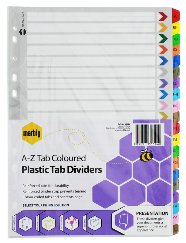 Marbig A4 Board A-Z Tab Reinforced Dividers - Coloured