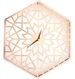 51 cm Hexagon Metal Cut Out Clock: Rose Gold