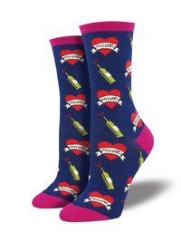 Womens - Navy My Wine True Love Crew Socks
