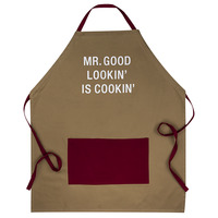 Apron With Pocket: Good Lookin' (Red/Tan)