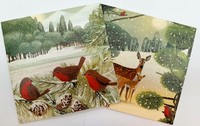 The Art File: Boxed Wallets Christmas Cards - Birds and Deer (10 Pack)
