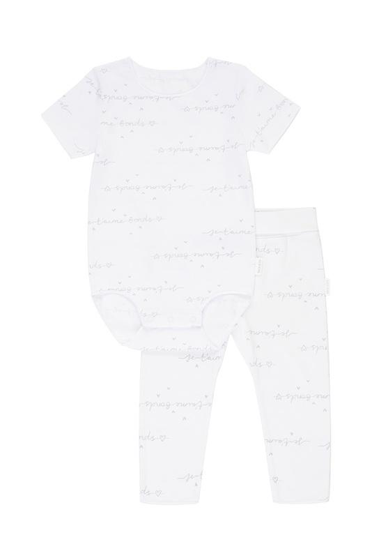 Bonds Newbies Everyday Short Sleeve Set - Je T'aime White/Grey (3-6 Months)