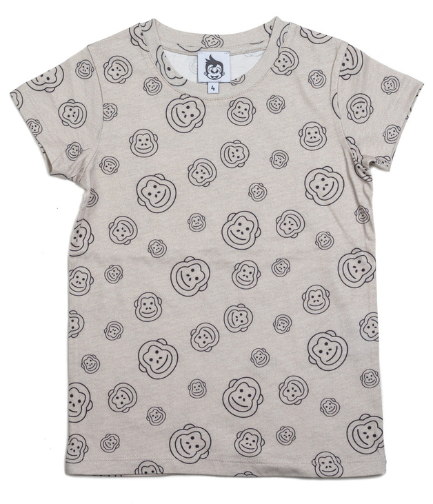 Cheeky Chimp: AOP Print Tee - Charcoal (Size 7)