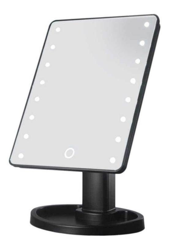Induction LED 3-Colour Desktop Makeup Mirror - Black