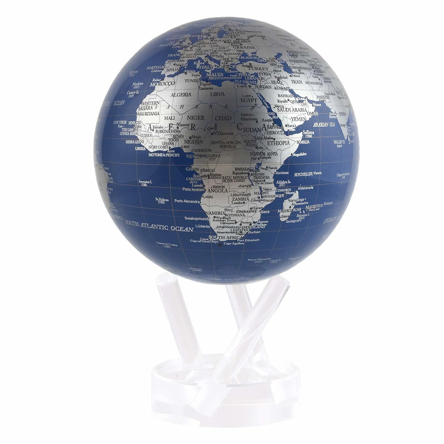 MOVA Self Rotating Globe Blue and Silver image