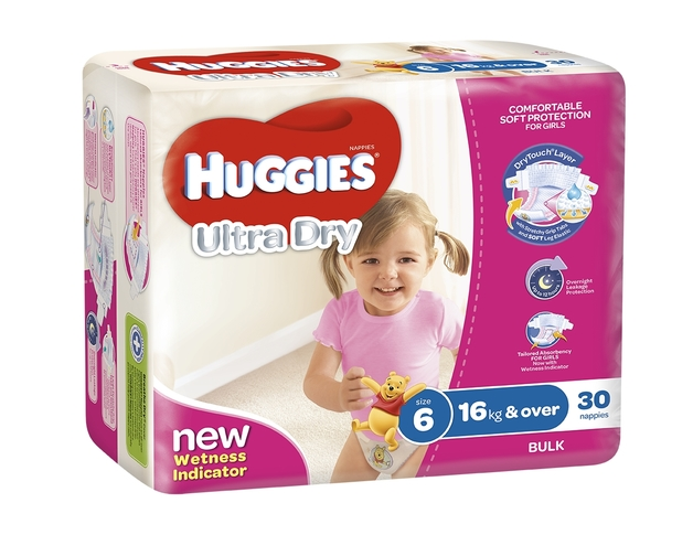 Huggies Ultra Dry Nappies Bulk - Junior Girl 16+kg (30)
