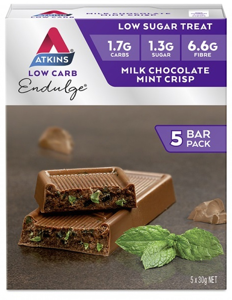 Atkins Endulge Bars - Milk Chocolate Mint Crisp (Box of 5)