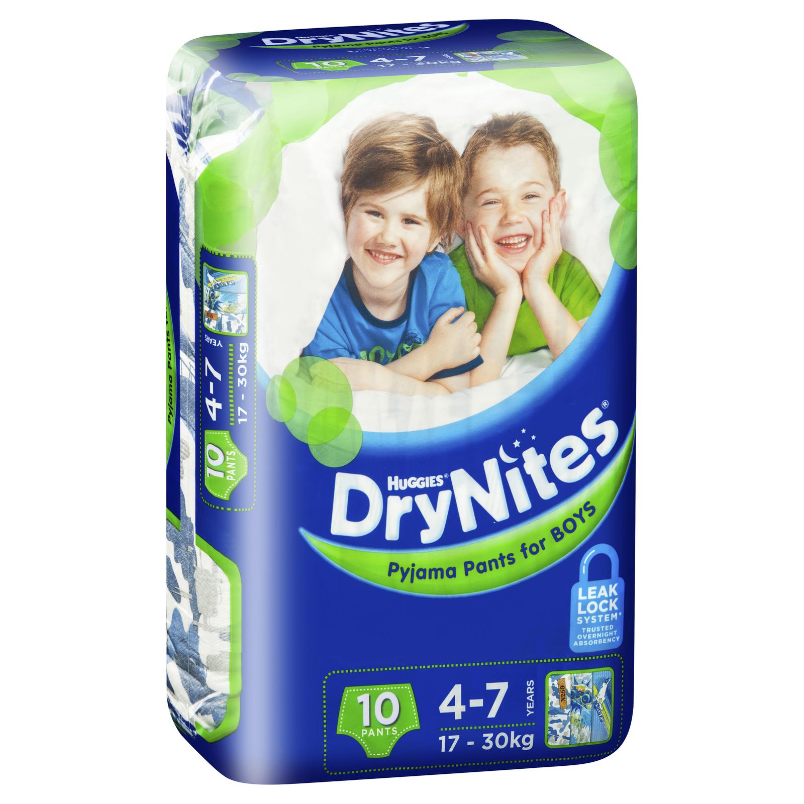 Huggies DryNites Pyjama Pants - 4-7 Year Boy 17-30kg (10) image