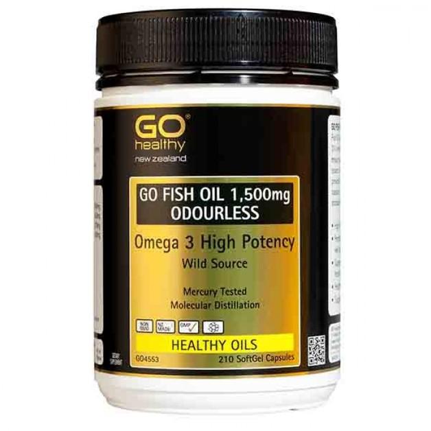 Go Healthy: GO Fish Oil 1500mg Odourless (210 Capsules)