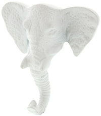 Pretty Pastels: Elephant Head Wall Hook - White