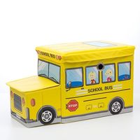 Foldable Fabric Toy Box - School Bus (Yellow)