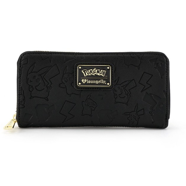 Loungefly Pokemon Pikachu Black Embossed Zip Around Wallet