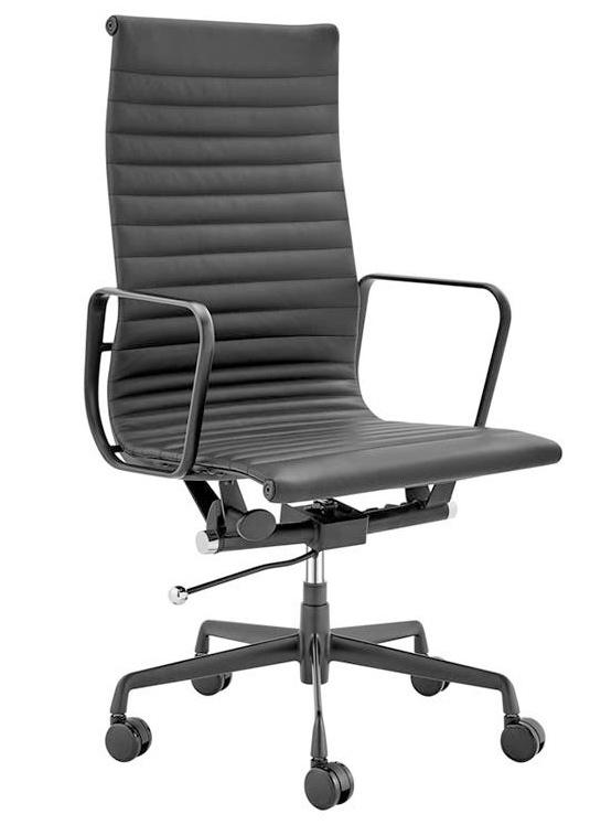 Matt Blatt: Replica Eames Group Standard Matte Black Aluminium High Back Office Chair (Black Leather)