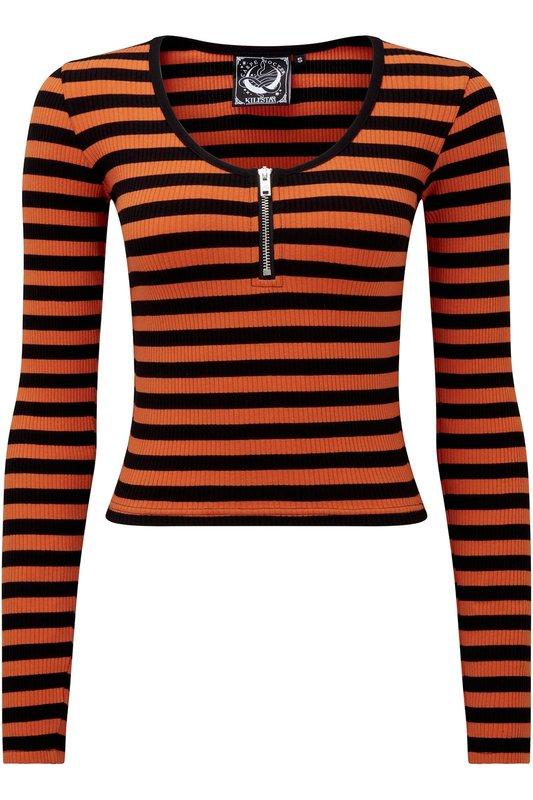 Killstar: Izora Ribbed Top [Pumpkin] (Size - M)