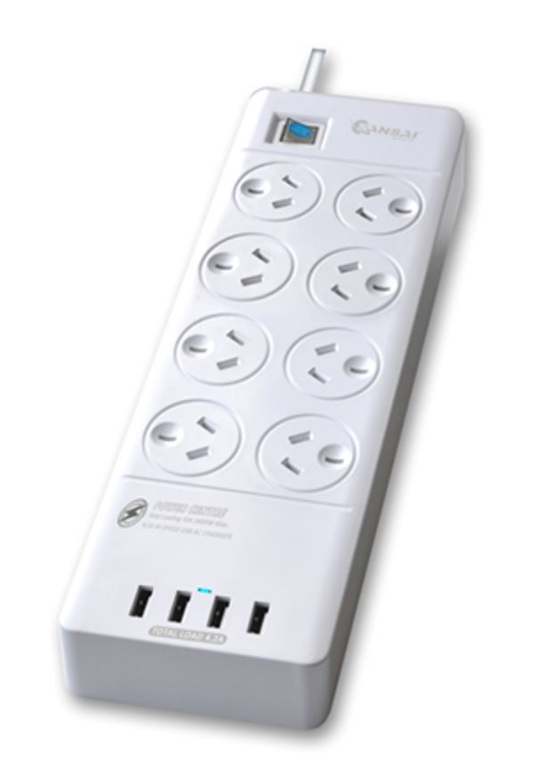 Sansai 8 Way Surge Powerboard with 4 x USB Charging Ports image