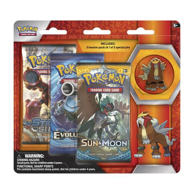 Pokemon TCG Entei 3 Pack Pin Blister
