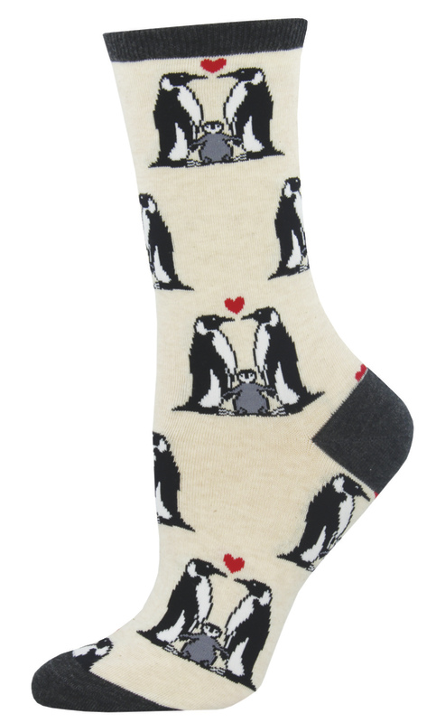 Socksmith: Women's Penguin Love Crew Socks - Heather Ivory