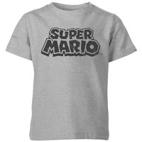 Nintendo Super Mario Distressed Logo T-Shirt Kids' T-Shirt - Grey - 5-6 Years image