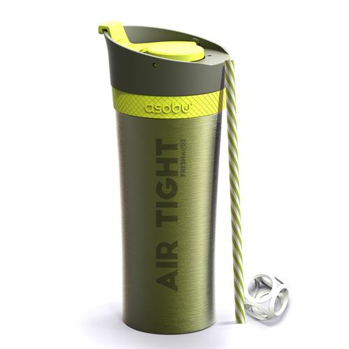 Asobu Fresh N Go Double Wall Shaker Tumbler - Lime (500ml)