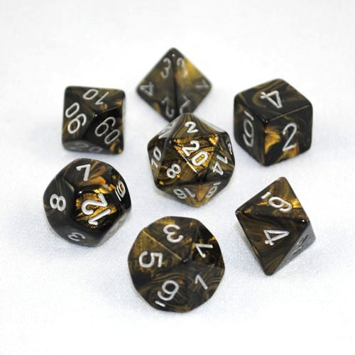 Chessex Signature Polyhedral Dice Set Leaf Black Gold/Silver image