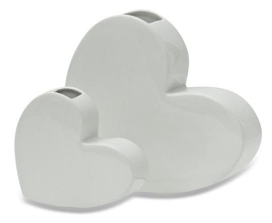 Decor Living: White Heart Vase - Set of 2