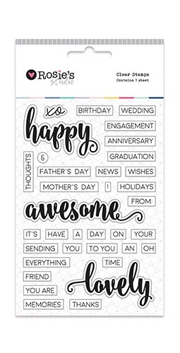 Rosie's Studio: Clear Stamps - Happy/Awesome/Lovely