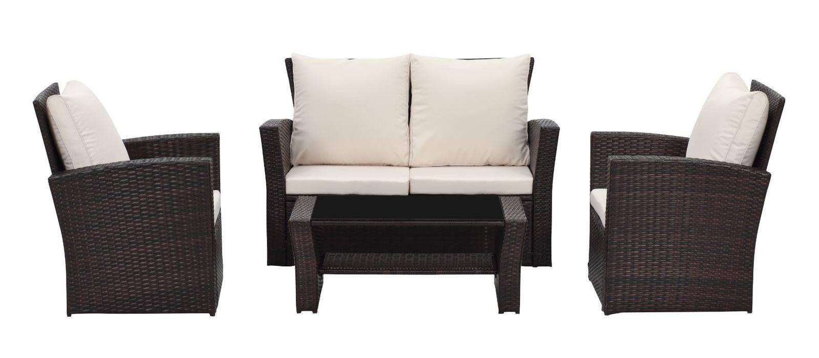 Rattan Wicker Outdoor Sofa Paradise Lounge Set 2 - Beige/Brown image