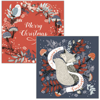 The Art File: Boxed Wallets Christmas Cards - Woodland (10 Pack)