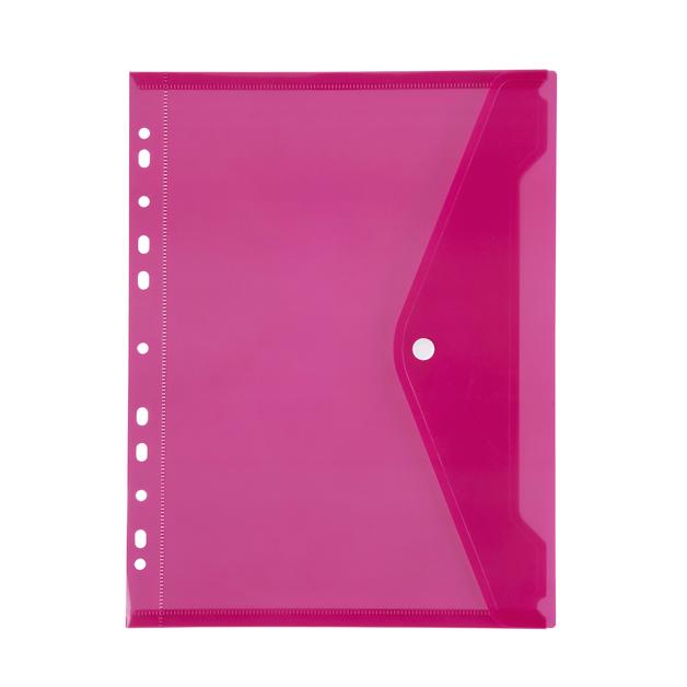 Marbig: Binder Pocket with Button Closure - Pink