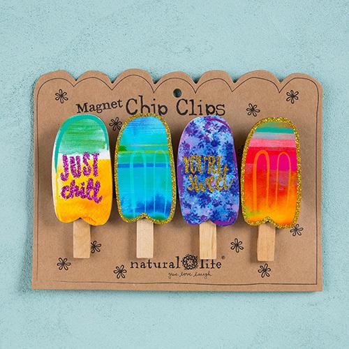 Natural Life: Set of 4 Magnet Chip Clips - Popsicles