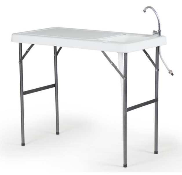 Foldable Fish Filleting and Camping Table with Tap