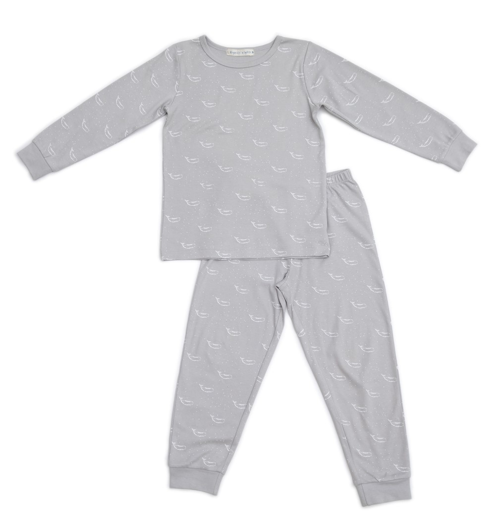 Organic Nights: Soft Grey Childrens Long Sleeve/Long Pants Pyjama Set - 8-9 years image