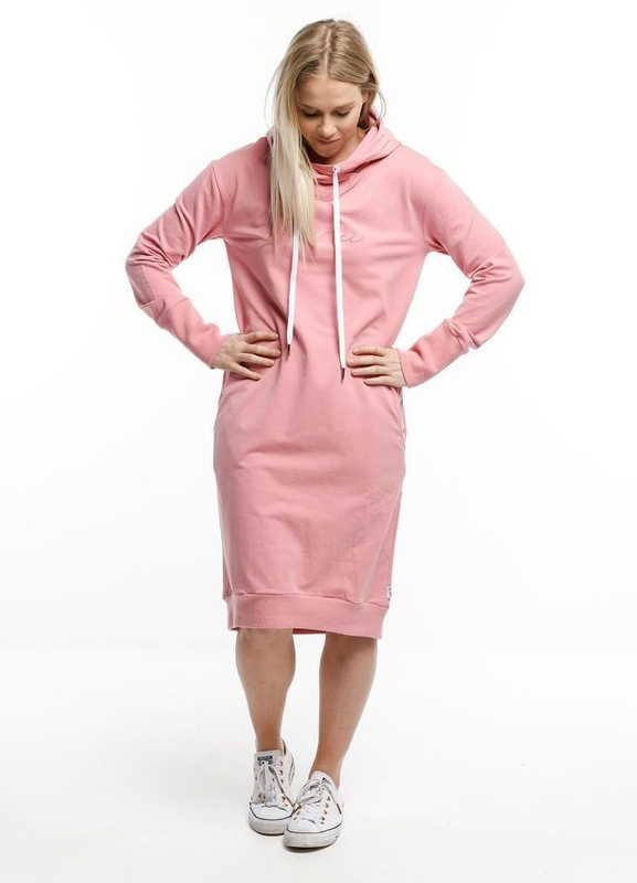 Home-Lee: Hooded Sweater Dress - Rose Pink - 14