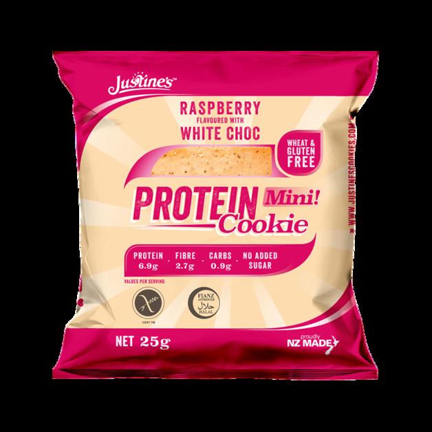 Justine's Mini Protein Cookies - Raspberry White Chocolate (10 x 25g)