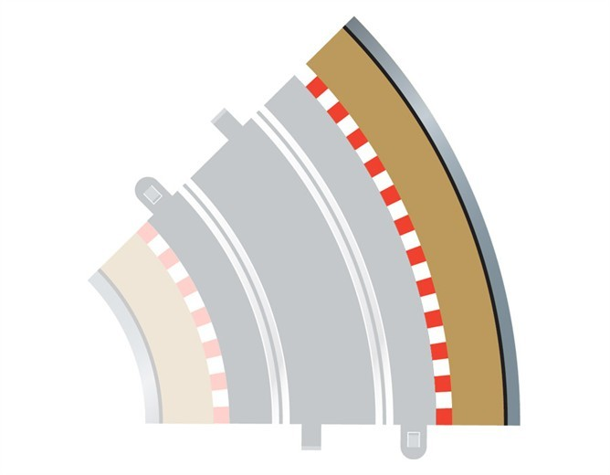 Scalextric 45 Degree Radius 2 Curve Outer Track Borders image