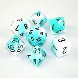Chessex Gemini Polyhedral Dice Set Teal-White/Black