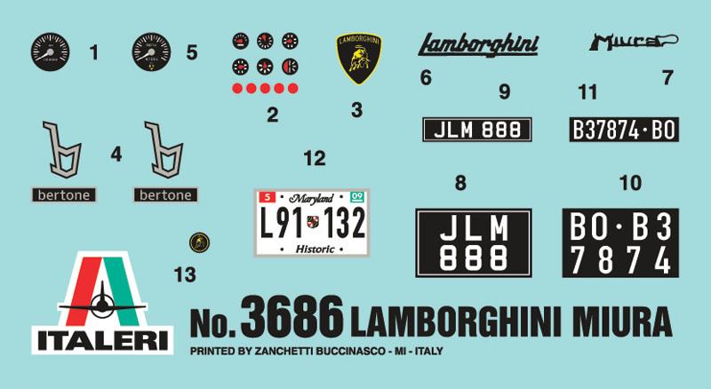 Italeri 1:24 Lamborghini Miura Model Kit image