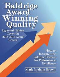 Baldrige Award Winning Quality by Mark Graham Brown