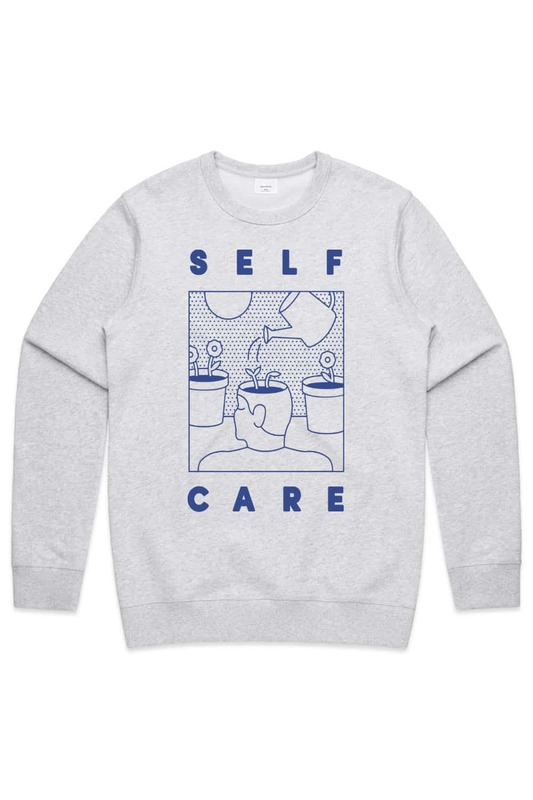 Lonely Kids Club: Self Care White Marle Premium Crew - S