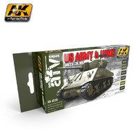 AK US Army & USMC Green Colours Paint Set