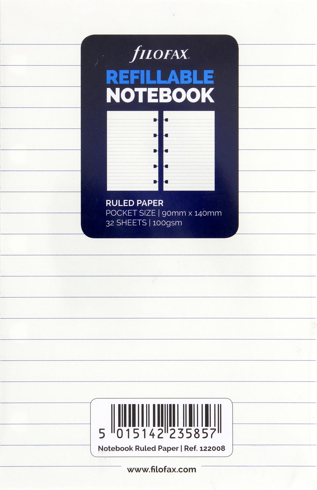 Filofax - Pocket Ruled Notebook Refill - White (32 Sheet) image