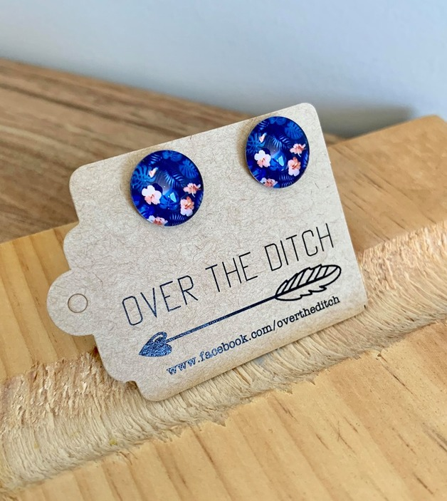 Over the Ditch: Dome Earrings - Blue Floral