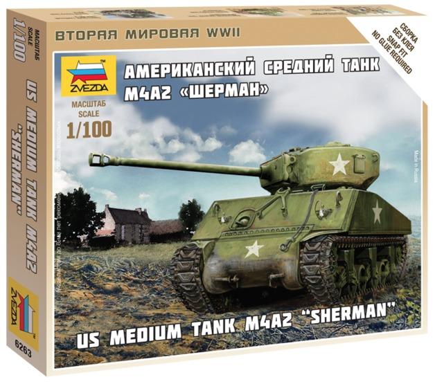 Zvezda: 1/100 M4A2 Sherman US Medium Tank - Model Kit