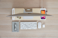 Pout EYES 8 3-in-1 Monitor Stand Hub with Fast Wireless Charging Pad White