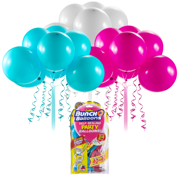 Bunch O' Balloons: Self Sealing Party Balloons - (24 x Pink/Teal/White)