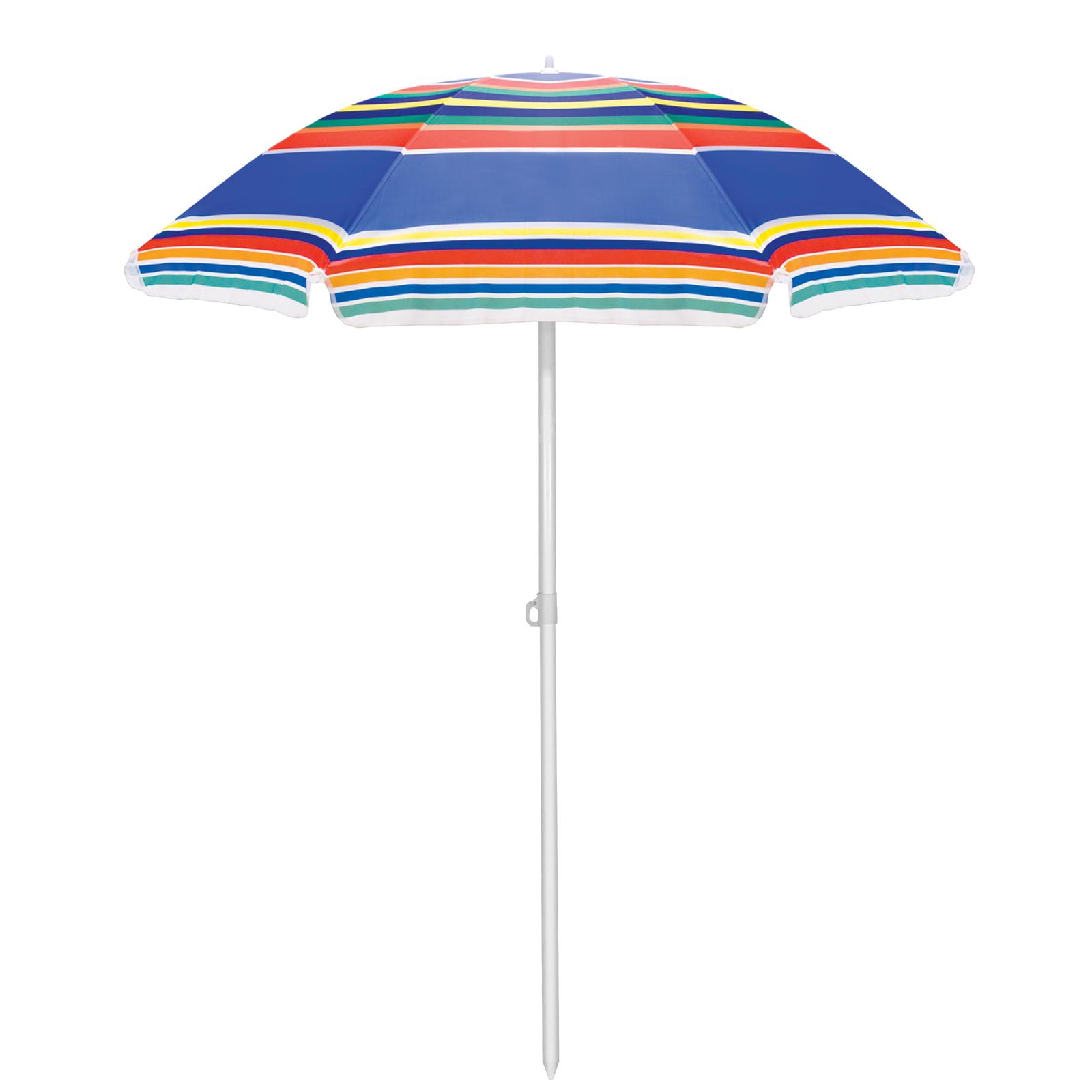 Picnic Time: Portable Beach Umbrella (Multi-Color Stripes) image