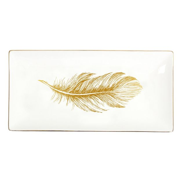 Splosh: Tranquil Gold Feather Small Platter